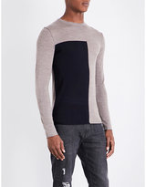Armani Jeans Half Eagle-flocked Wool-blend Jumper
