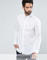 Farah Shirt with Collar Bar in Slim Fit with Stretch