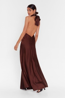 Nasty Gal Womens Big Entrance Satin Maxi Dress - Chocolate