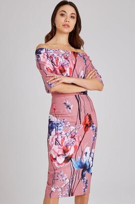 Little Mistress Elva Floral-Print Bardot Midi Dress