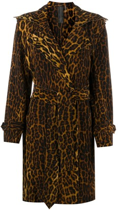 Norma Kamali Leopard-Print Belted Coat