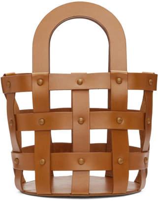 Building Block Brown Small Woven Basket Bag