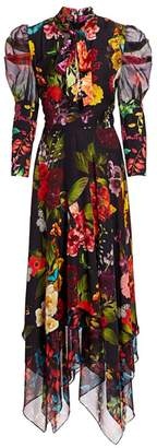 Alice + Olivia Karen Floral Puff Sleeve Handkerchief Midi Dress