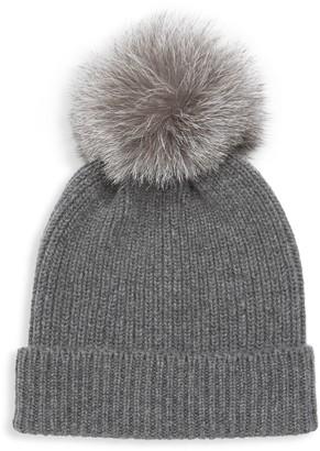 Amicale Rib-Knit Cashmere Fox Fur Pom-Pom Beanie