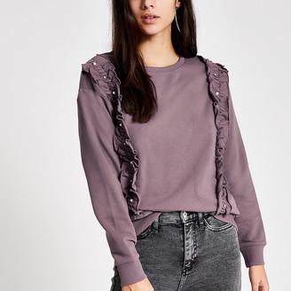 River Island Purple embellished frill front sweatshirt