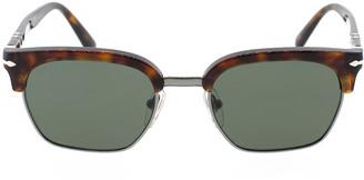 Persol Havana and Green Half Rim Acetate Sunglasses