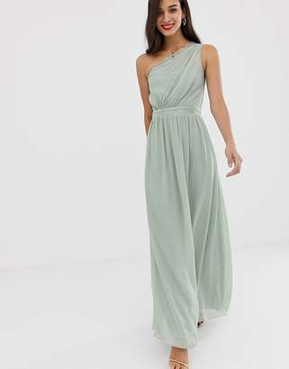 Little Mistress one shoulder maxi dress-Green