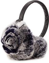 Adrienne Landau Rosette Fur Earmuffs, Navy