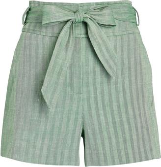Veronica Beard Borneo Tie-Waist Linen Shorts