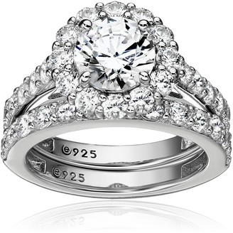 Amazon Collection Platinum-Plated Sterling Silver Flower Halo Ring set with Swarovski Zirconia (2.9 cttw) Size 8