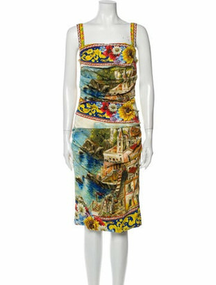 Dolce & Gabbana Silk Midi Length Dress Yellow