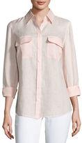 Go Silk Long-Sleeve Button-Front Linen Top, Petite