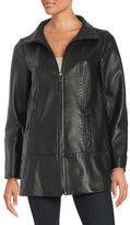 Jones New York Zip-Front Leather Coat