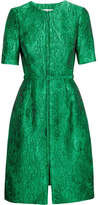 Oscar de la Renta Belted Silk-jacquard Dress - Emerald