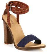 Vince Nava Snake-Embossed Ankle-Wrap Sandals
