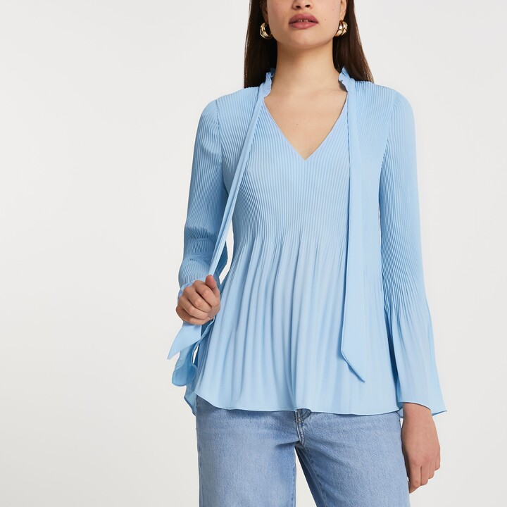 Thumbnail for your product : River Island Womens Blue long sleeve plisse pussybow top