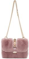 Valentino Pink Fur Small Lock Shoulder Bag