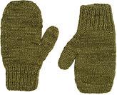 The Elder Statesman Women's Brushed Cashmere Mittens-Dark Green