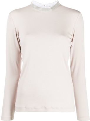 Fabiana Filippi Jed embellished collar jersey top