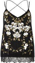 River Island Womens Black oriental embellished cami top