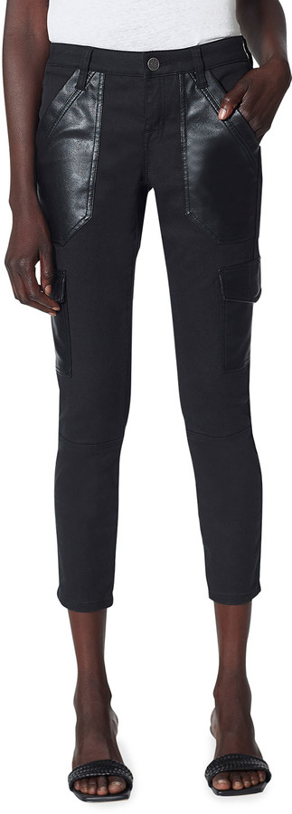 Joie Okana Cropped Skinny Pants with Faux-Leather Cargo Pockets