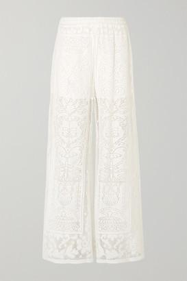Dolce & Gabbana Crocheted Cotton-blend Lace Wide-leg Pants - White