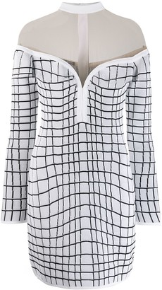 Balmain Checked Knit Mini Dress