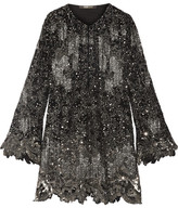Roberto Cavalli Embellished Silk-georgette Mini Dress - Black
