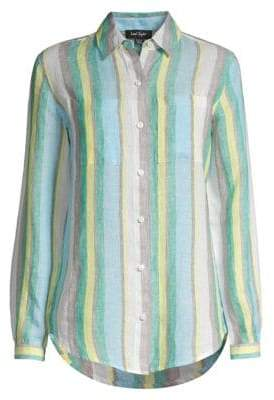 Lord & Taylor Loden Striped Linen Button Front Shirt
