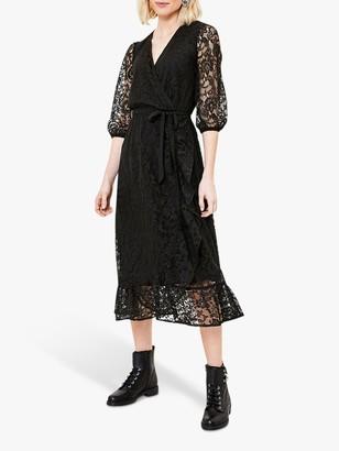 Oasis Lace Wrap Midi Dress, Black