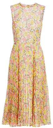 Jason Wu Collection Floral Plisse Chiffon Midi Dress