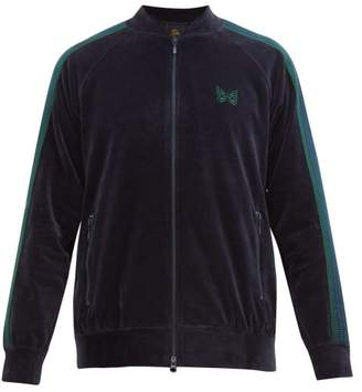 Needles Velour Side-striped Logo-embroidered Track Top - Mens - Navy