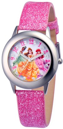 Disney Girl' Diney Prince Tiana, Belle, and Ariel tainle teel Glitz Watch - Pink