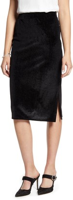 Halogen Velvet Stripe Pencil Skirt