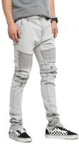 TheMogan Men's Distressed Wash Denim Zip Ankle Skinny Biker Jeans