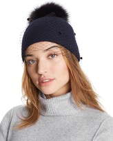 Helene Berman Knit Hat with Veil & Fox-Fur Pom-Pom