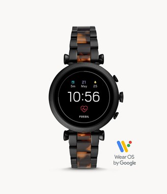 Fossil Gen 4 Smartwatch Sloan Hr Two-Tone Black And Tortoise Stainless Steel jewelry