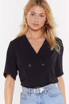 Nasty Gal Womens Such A Shirt V-Neck Cropped Blouse - Black - 4, Black