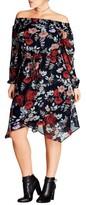 City Chic Plus Size Women's Dark Poppy Off The Shoulder Dress