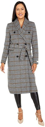 Calvin Klein Houndstooth Double Breasted Wool Coat (Black Houndstooth) Women's Coat