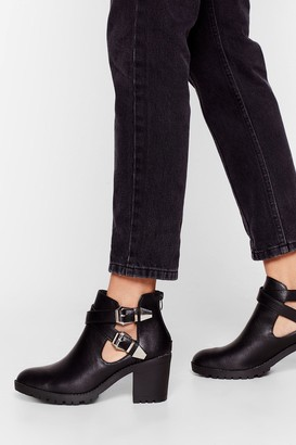 Nasty Gal Womens Strap That Buckle Heeled Boots - Black