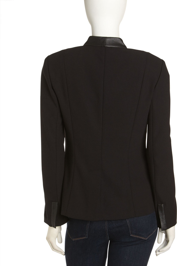Paperwhite Faux-Leather Trim Tuxedo Jacket