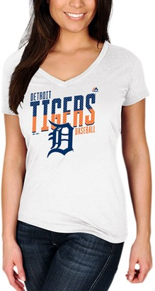 Majestic Women's White Detroit Tigers Crank Up the Heat T-Shirt