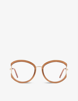 Tom Ford FT5669-B round-frame metal and braun hell glanz optical glasses