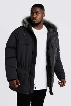 BoohoomanBoohooMAN Mens Grey Big & Tall Faux Fur Hooded Arctic Parka, Grey