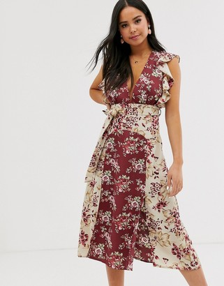 Glamorous midaxi dress with belted waist in mixed vintage floral