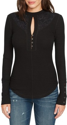 William Rast Women's Helena Mock Neck Keyhole Knit Top