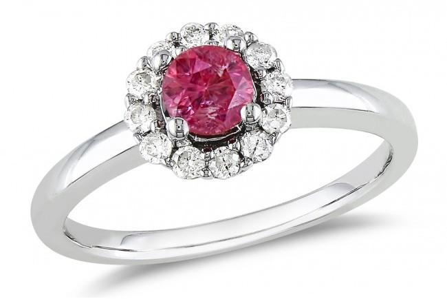 Ice 1/2 CT Pink and White Diamond 14K White Gold Halo Ring