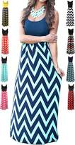 HanDanGe Women's Summer Chevron Striped Print Dress Tank Long Maxi Dresses For Women -XXL