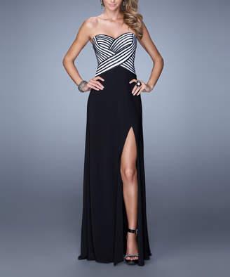 La Femme Women's Special Occasion Dresses Black/White - Black & White Stripe Crisscross Strapless Sweetheart Gown - Women